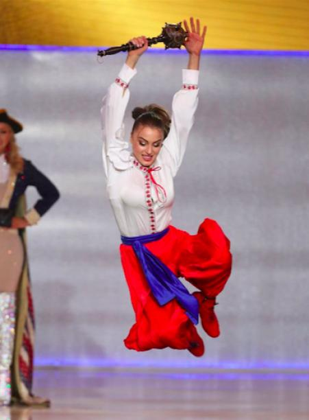 "Miss Ukraine in trousers and with a mace danced hopak at the ""Miss World"" -2019."